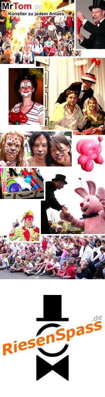 Stelzenlaeufer, Walking-Acts, Kinderanimation, Clown, Zauberer, Ballonfiguren, KINDERtainment aus Dortmund im Ruhrgebiet in Nordrhein-Westfalen / NRW